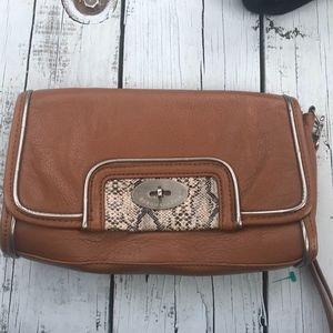 BCBG MaxAzria Brown Leather Clutch Wristlet Purse